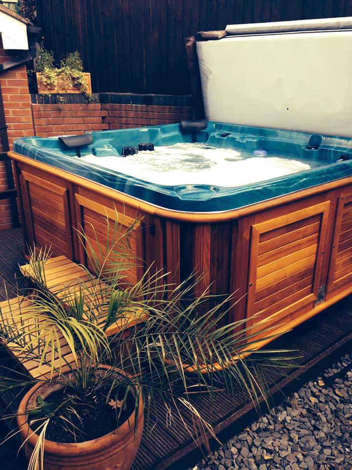Hot tub in the backyard