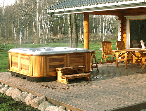arctic spas hot tub on an open patio