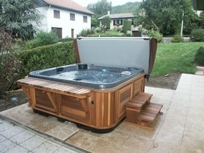 arctic spas hot tub on tile patio